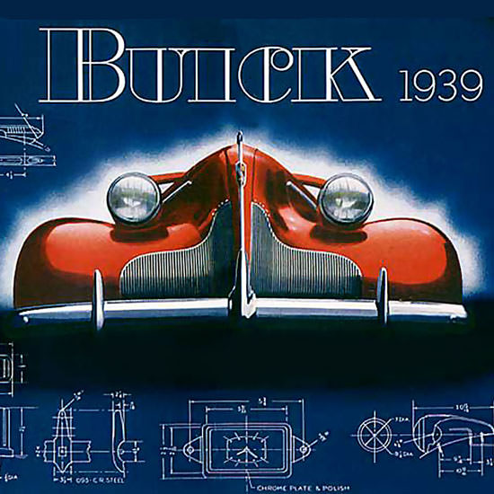 Detail Of Buick 1939 Automobile Drafting Borad Red Wide | Best of Vintage Ad Art 1891-1970
