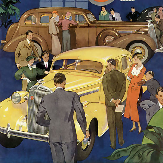 Detail Of Buick 8 Yellow 1936 | Best of Vintage Ad Art 1891-1970