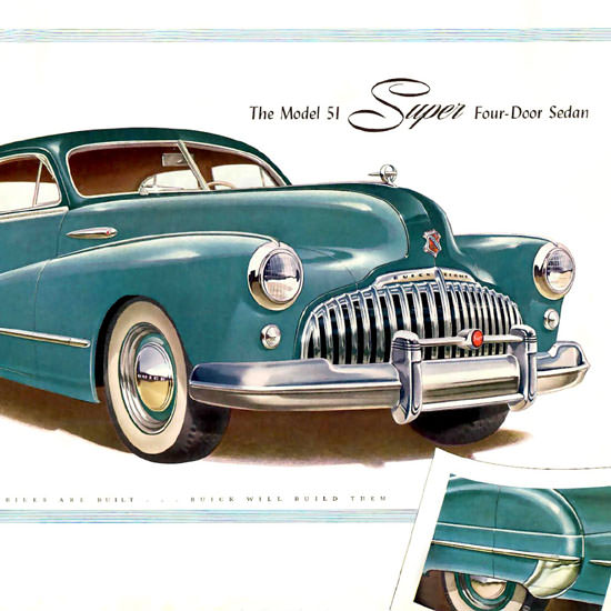 Detail Of Buick Eight Model 51 Super 4 Door Sedan 1946 | Best of Vintage Ad Art 1891-1970