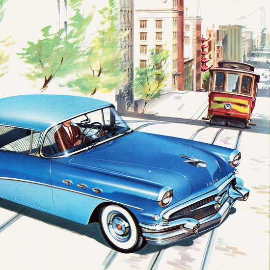 Detail Of Buick Special Hardtop Riviera 1956 San Francisco | Best of Vintage Ad Art 1891-1970