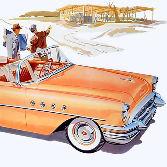 Detail Of Buick Super 2-Door Convertible 1955 | Best of Vintage Ad Art 1891-1970