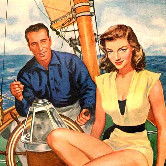 Detail Of Burns Cigarillos Humphrey Bogart Lauren Bacall 1951 | Best of Vintage Ad Art 1891-1970