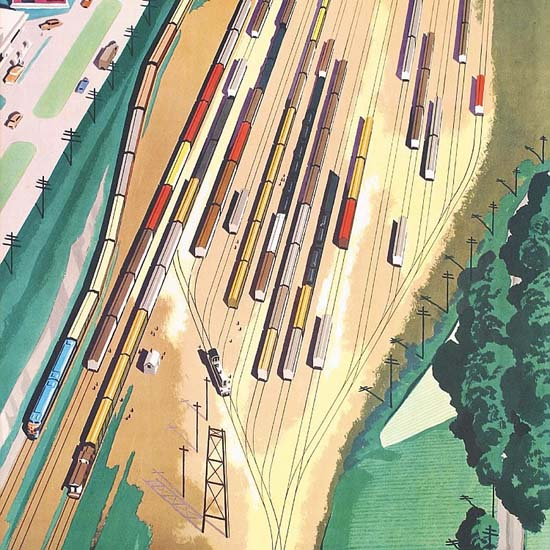 Detail Of CEI General Motors Diesel Locomotives 1950s | Best of Vintage Ad Art 1891-1970