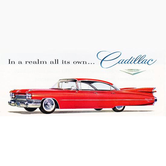 Detail Of Cadillac DeVille Sedan 1959 At Perinos | Best of Vintage Ad Art 1891-1970
