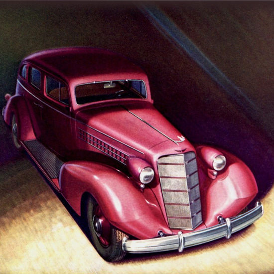 Detail Of Cadillac Five Passenger Sedan 1935 | Best of Vintage Ad Art 1891-1970