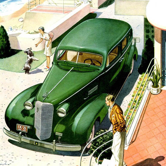 Detail Of Cadillac Fleetwood Series 70 Touring 1937 Green | Best of Vintage Ad Art 1891-1970