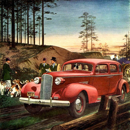 Detail Of Cadillac Fleetwood Series 70 Touring 1937 Red | Best of 1930s Ad and Cover Art