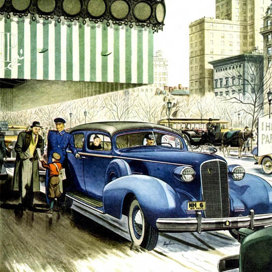Detail Of Cadillac Fleetwood Series 75 Formal Sedan 1937 | Best of Vintage Ad Art 1891-1970