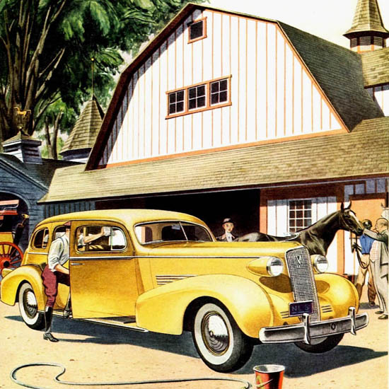 Detail Of Cadillac Fleetwood Touring Sedan 1937 | Best of Vintage Ad Art 1891-1970