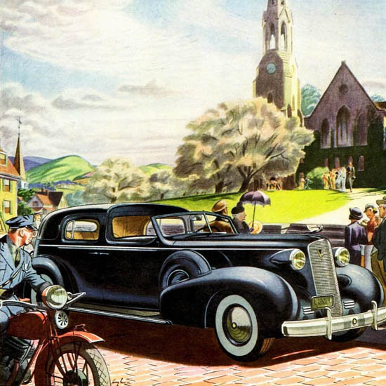 Detail Of Cadillac Fleetwood V12 Series 85 Cabriolet 1937 | Best of 1930s Ad and Cover Art
