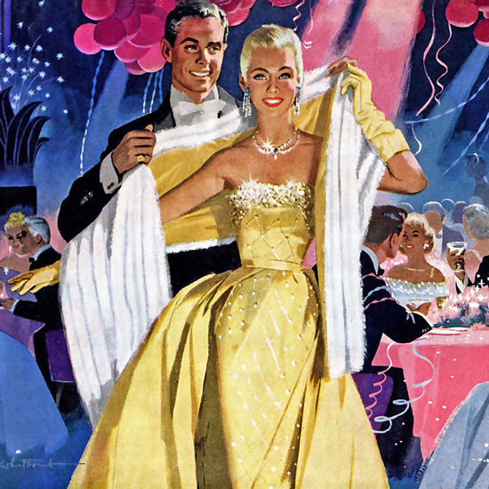 Detail Of Cadillac Happy New Year Party 1956 | Best of Vintage Ad Art 1891-1970