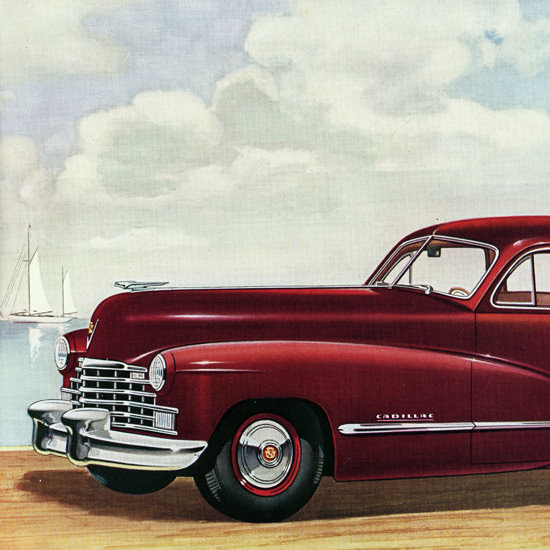 Detail Of Cadillac Series Sixty One Touring Sedan 1946 | Best of Vintage Ad Art 1891-1970