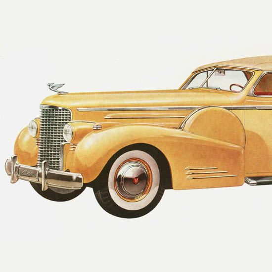 Detail Of Cadillac Sixteen Convertible Coupe 1938 | Best of 1930s Ad and Cover Art