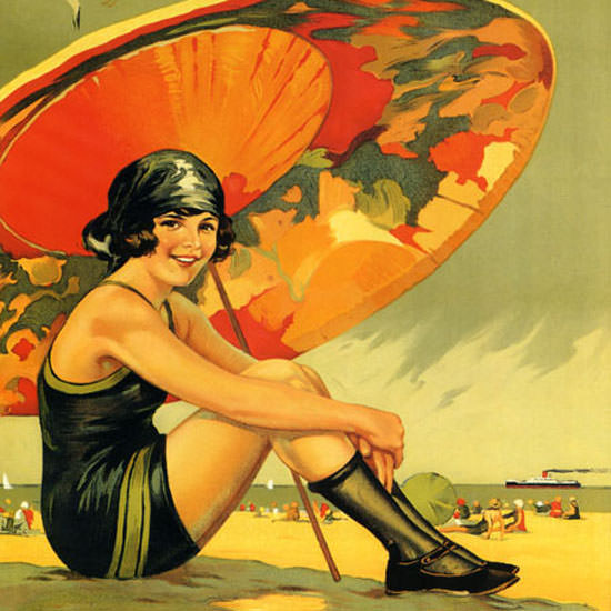 Detail Of Califoria Beaches 1920s | Best of Vintage Ad Art 1891-1970