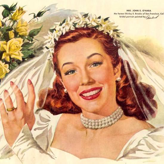 Detail Of Camay Soap Shirley E Brooke Bridal Portrait 1948 | Best of Vintage Ad Art 1891-1970