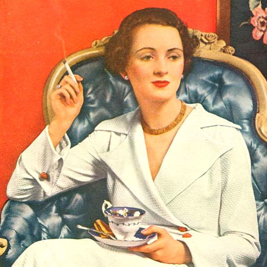 Detail Of Camel Cigarettes Mary De Mumm 1935 | Best of Vintage Ad Art 1891-1970