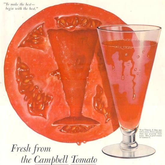 Detail Of Campbells Tomato Juice 1955 | Best of Vintage Ad Art 1891-1970