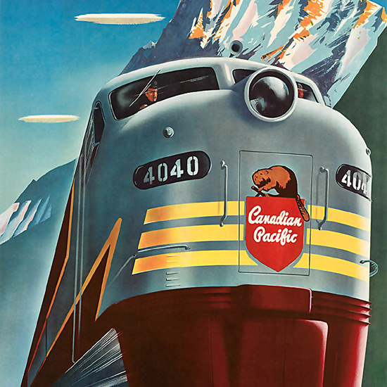 Detail Of Canadian Pacific 4040 Beaver 1952 Rockies | Best of Vintage Ad Art 1891-1970