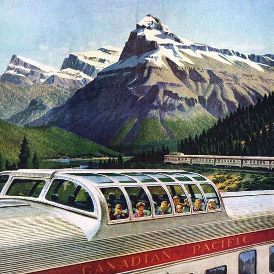 Detail Of Canadian Pacific Canada Scenic Dome Train 1950 | Best of Vintage Ad Art 1891-1970