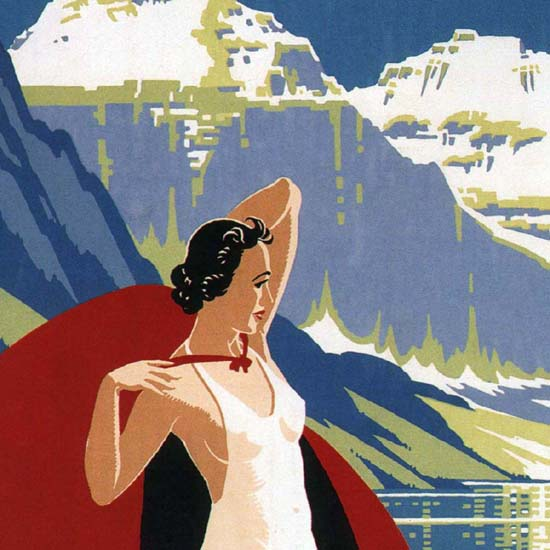 Detail Of Canadian Pacific Chateau Lake Louise Rockies | Best of Vintage Ad Art 1891-1970