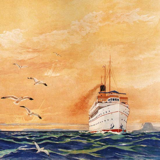 Detail Of Canadian Pacific Great Lakes Steamship Inland   Best of Vintage Ad Art 1891-1970