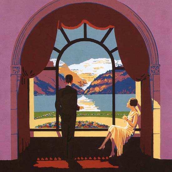 Detail Of Canadian Pacific Hotel Chateau Lake Louise | Best of Vintage Ad Art 1891-1970