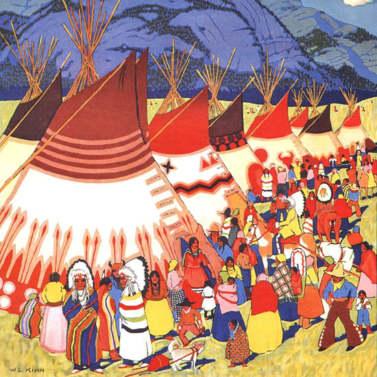 Detail Of Canadian Pacific Indian Days Banff 1930 | Best of Vintage Ad Art 1891-1970