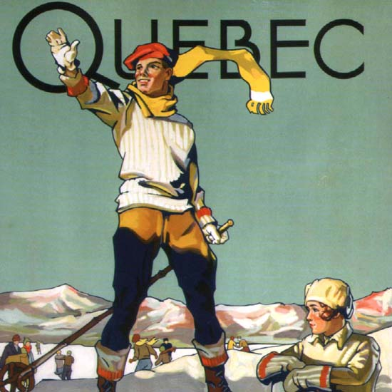 Detail Of Canadian Pacific Quebec Winter Sports Canada | Best of Vintage Ad Art 1891-1970