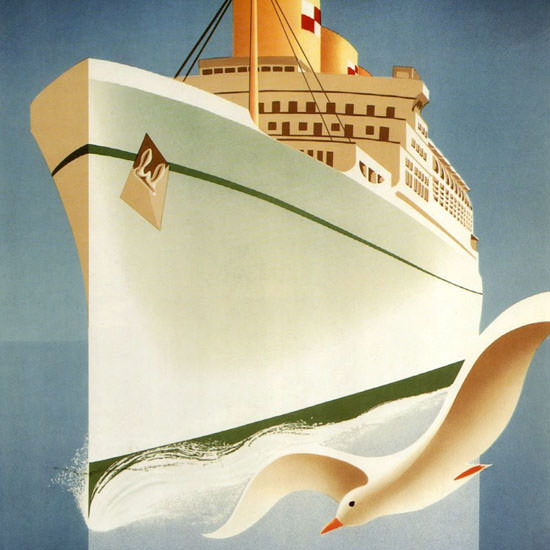 Detail Of Canadian Pacific Sail White Empress Europe 1950 | Best of Vintage Ad Art 1891-1970