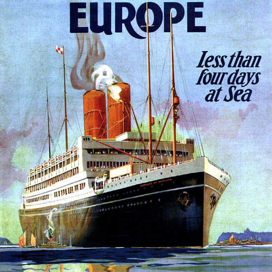 Detail Of Canadian Pacific St Lawrence Route Europe 1925 | Best of Vintage Ad Art 1891-1970