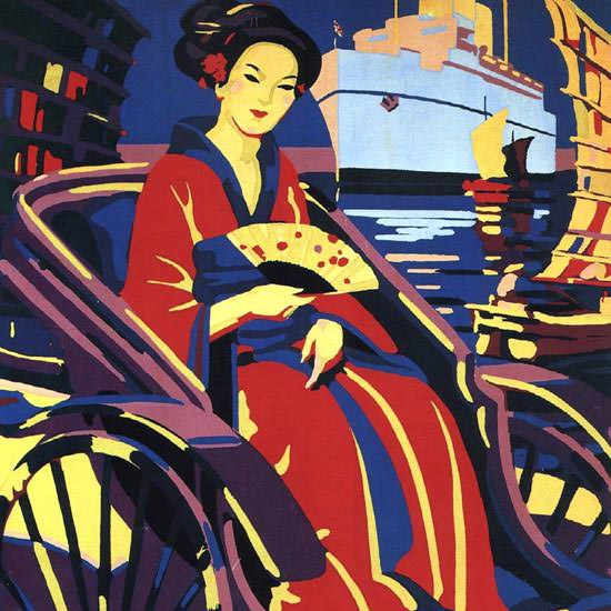 Detail Of Canadian Pacific To The Orient Via Honolulu 1933 | Best of Vintage Ad Art 1891-1970