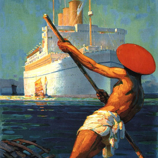 Detail Of Canadian Pacific White Empresses Of Pacific 1930 | Best of Vintage Ad Art 1891-1970