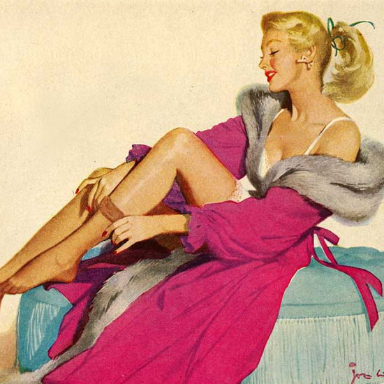 Detail Of Cannon Nylons Pin Up Girl 1951 | Best of Vintage Ad Art 1891-1970