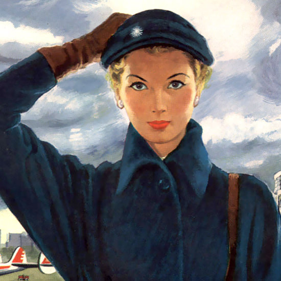 Detail Of Capital Airlines Boarding People On The Way Up B | Best of Vintage Ad Art 1891-1970