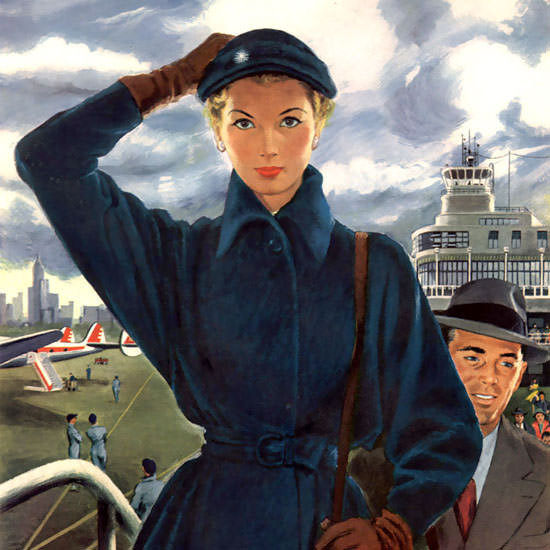 Detail Of Capital Airlines Boarding People On The Way Up | Best of Vintage Ad Art 1891-1970