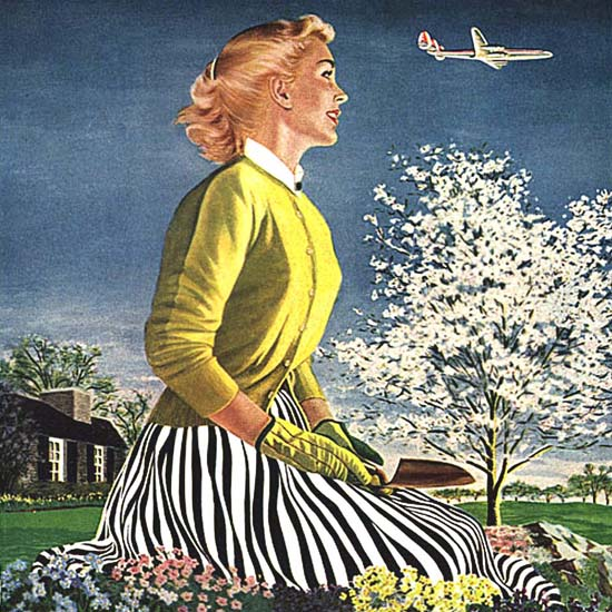 Detail Of Capital Airlines Waiting Wife Set The Table | Best of Vintage Ad Art 1891-1970