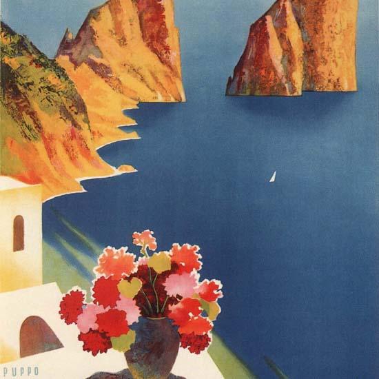Detail Of Capri L Isola Del Sole Island Of The Sun Italia | Best of Vintage Ad Art 1891-1970