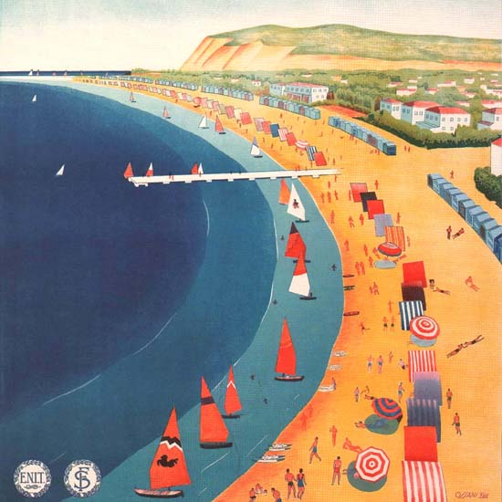 Detail Of Cattolica Riviera Adriatica Beach Italy Italia | Best of Vintage Ad Art 1891-1970
