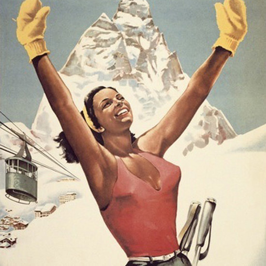Detail Of Cervinia Breuil Vale D Aosta Italy Skiing Girl | Best of Vintage Ad Art 1891-1970