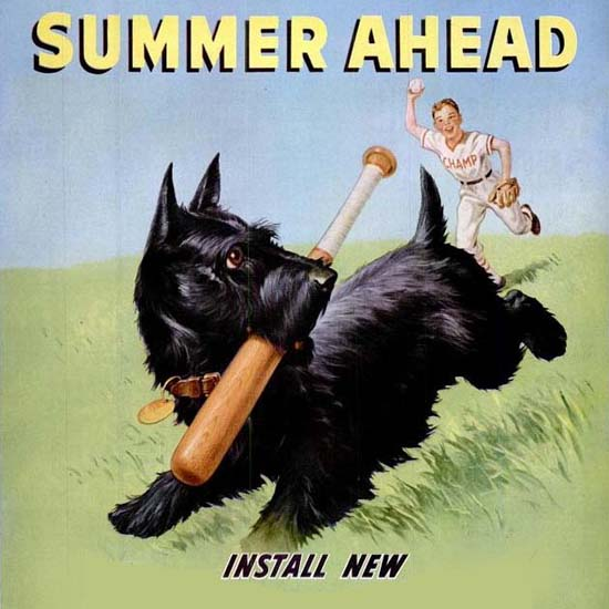 Detail Of Champion Spark Plugs Summer Ahead Dog 1950s | Best of Vintage Ad Art 1891-1970