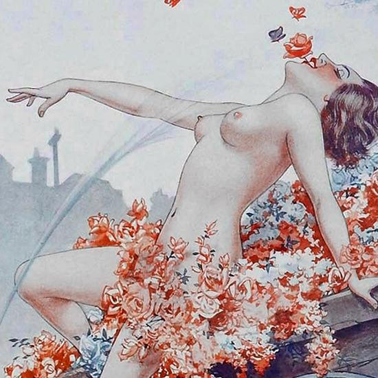 Detail Of Cheri Herouard La Vie Parisienne 1932 Epanouissement page B | Best of Vintage Ad Art 1891-1970
