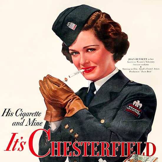 Detail Of Chesterfield Cigarettes Joan Bennett 1942 | Best of 1940s Ad and Cover Art
