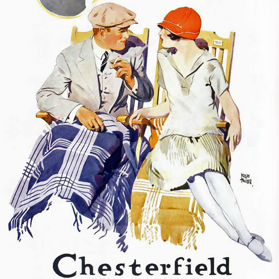 Detail Of Chesterfield Flirt On Deck Cigarettes 1926 | Best of Vintage Ad Art 1891-1970