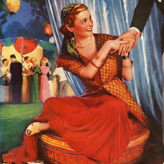 Detail Of Chesterfield Gypsy Queen Fortune Teller 1930s | Best of Vintage Ad Art 1891-1970
