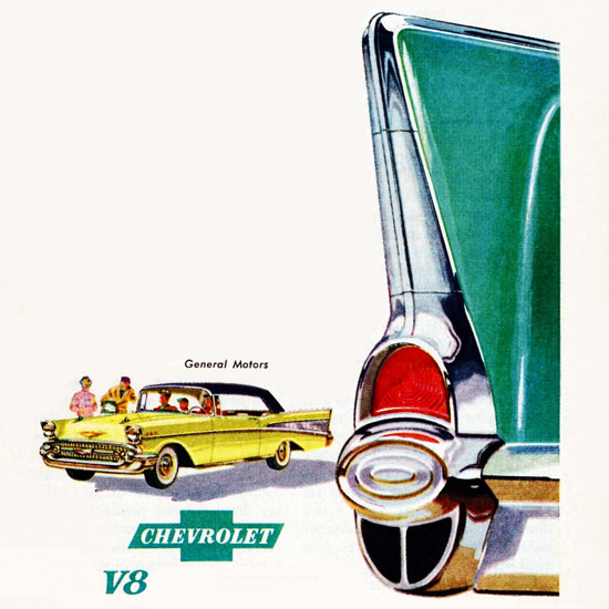 Detail Of Chevrolet Bel Air Convertible 1957 A La Mode | Best of Vintage Ad Art 1891-1970