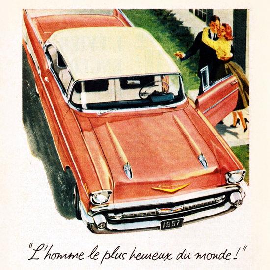 Detail Of Chevrolet Bel Air Sport 1957 Le Plus Heureux | Best of Vintage Ad Art 1891-1970
