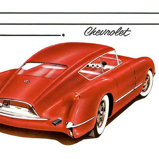 Detail Of Chevrolet Corvair Red Glass Fiber Body 1954 | Best of Vintage Ad Art 1891-1970