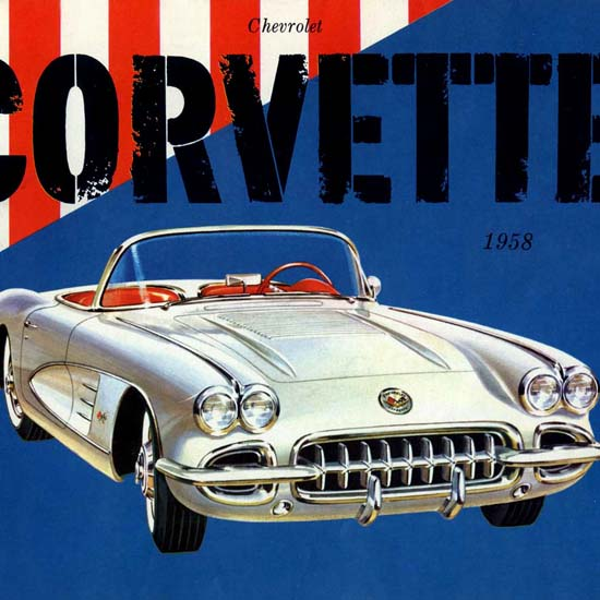 Detail Of Chevrolet Corvette 1958 Silver Red Blue | Best of Vintage Ad Art 1891-1970
