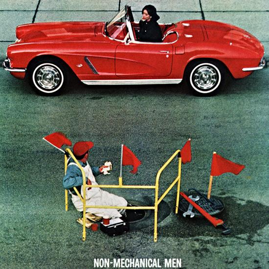 Detail Of Chevrolet Corvette 1962 Non Mechanical Men | Best of Vintage Ad Art 1891-1970