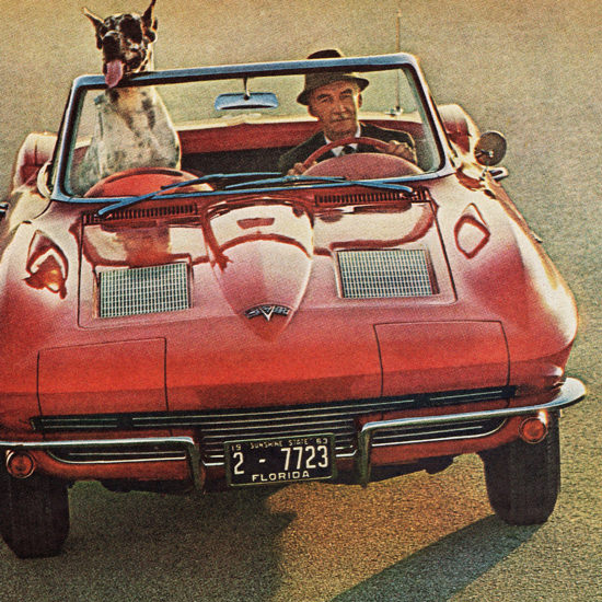 Detail Of Chevrolet Corvette Sting Ray Convertible 1963 | Best of Vintage Ad Art 1891-1970